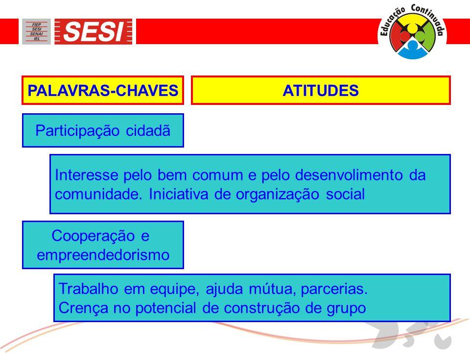 ATITUDESPALAVRAS-CHAVES Interesse pelo bem comum e pelo desenvolimento da comunidade.