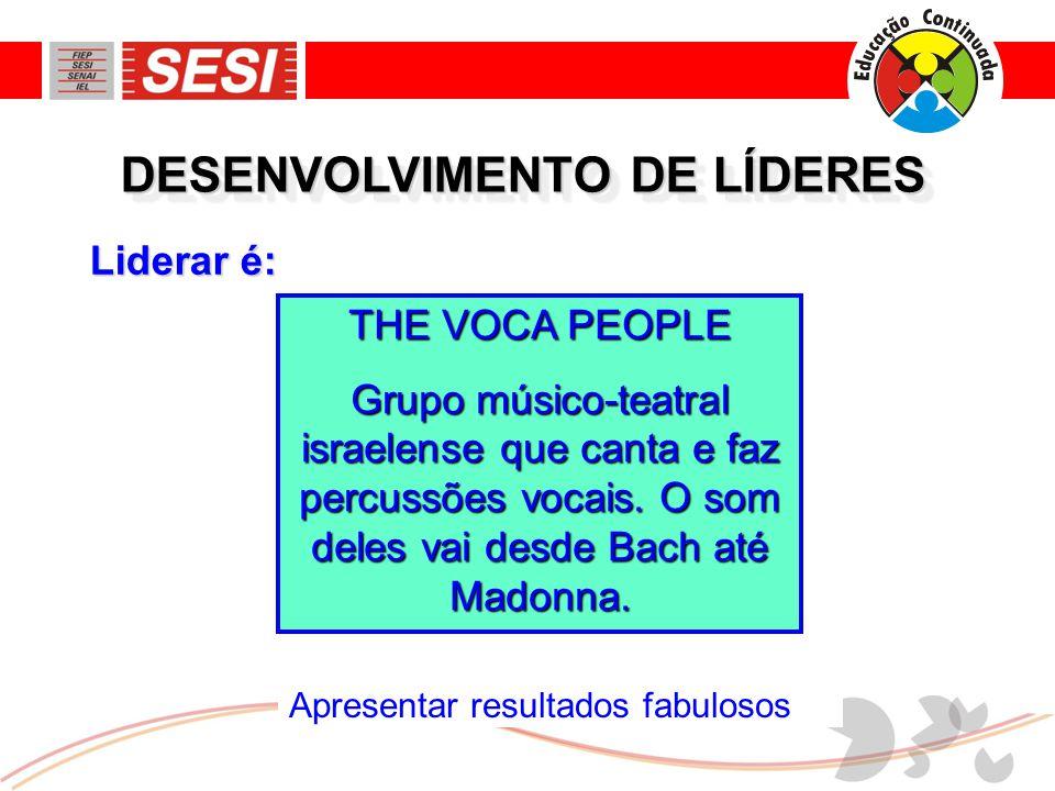 Apresentar resultados fabulosos Liderar é: DESENVOLVIMENTO DE LÍDERES THE VOCA PEOPLE Grupo músico-teatral israelense que canta e faz percussões vocais.