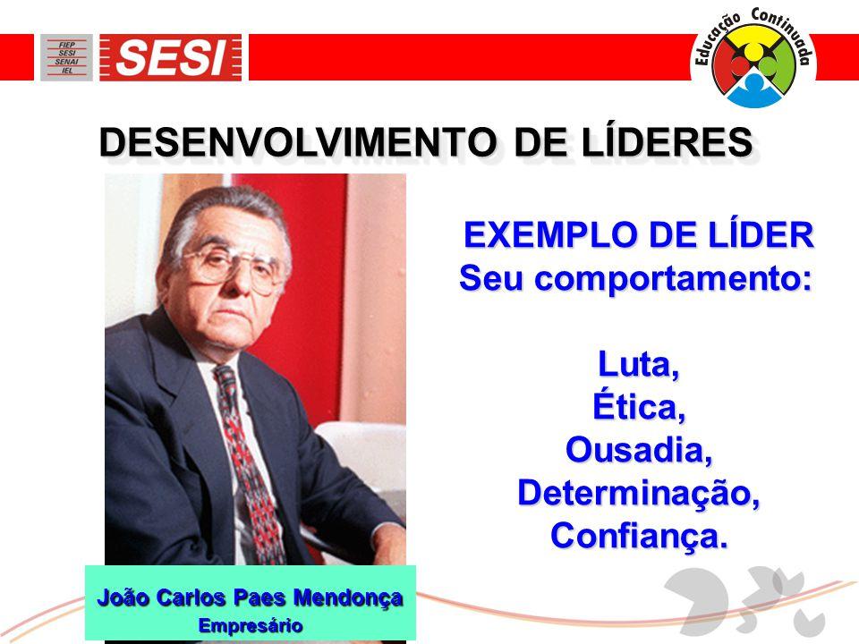 DESENVOLVIMENTO DE LÍDERES EXEMPLO DE LÍDER Seu comportamento: Luta,Ética,Ousadia,Determinação,Confiança. João Carlos Paes Mendonça Empresário
