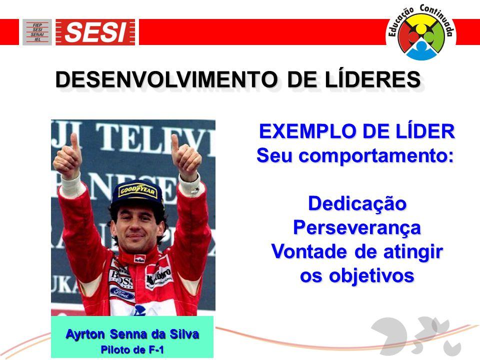 DESENVOLVIMENTO DE LÍDERES EXEMPLO DE LÍDER Seu comportamento: DedicaçãoPerseverança Vontade de atingir os objetivos Ayrton Senna da Silva Piloto de F