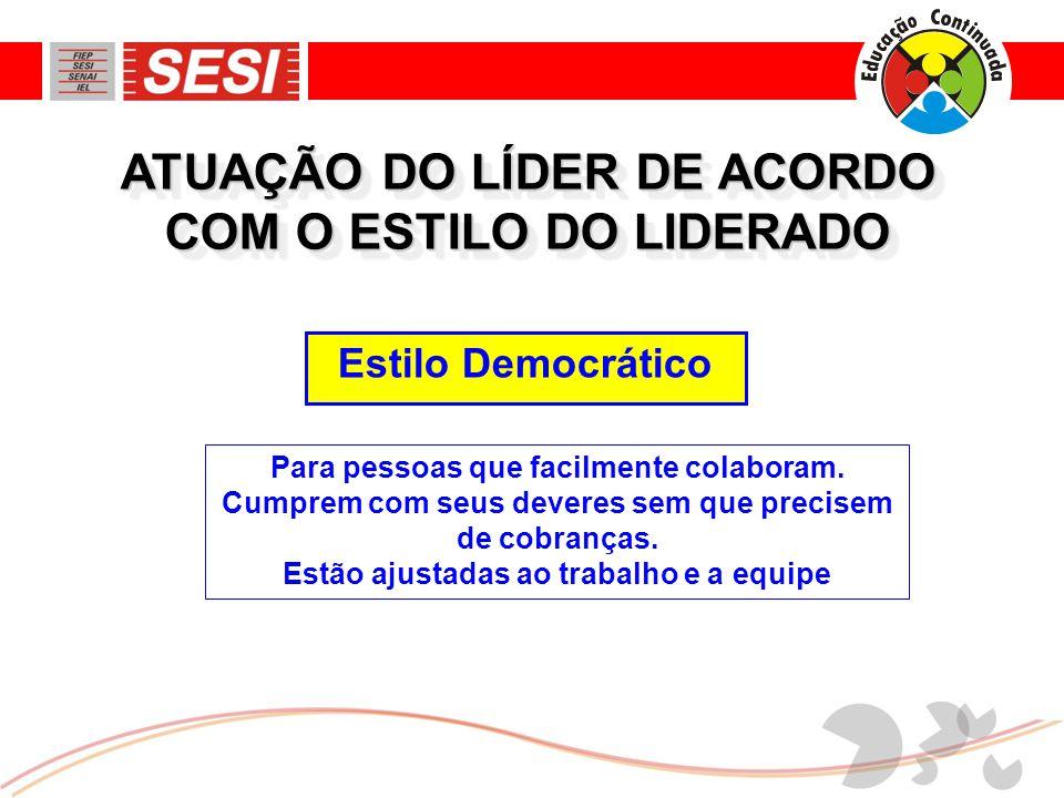 Estilo Democrático ATUAÇÃO DO LÍDER DE ACORDO COM O ESTILO DO LIDERADO Para pessoas que facilmente colaboram.