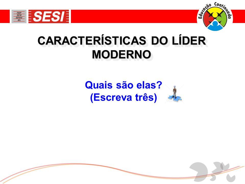 CARACTERÍSTICAS DO LÍDER MODERNO Quais são elas? (Escreva três)