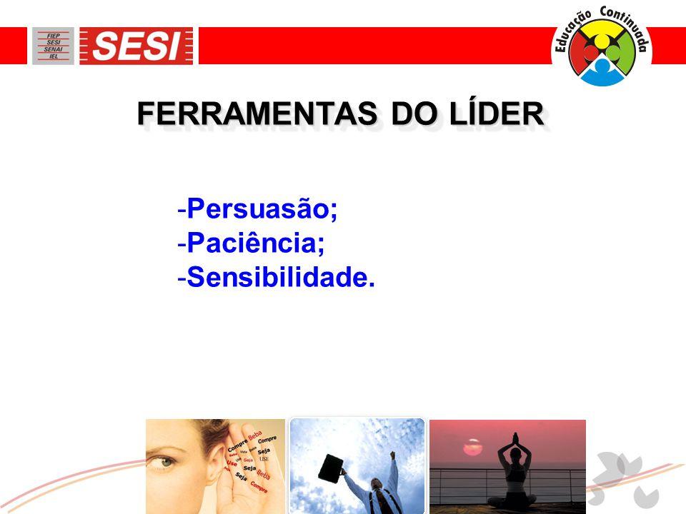 FERRAMENTAS DO LÍDER -Persuasão; -Paciência; -Sensibilidade.