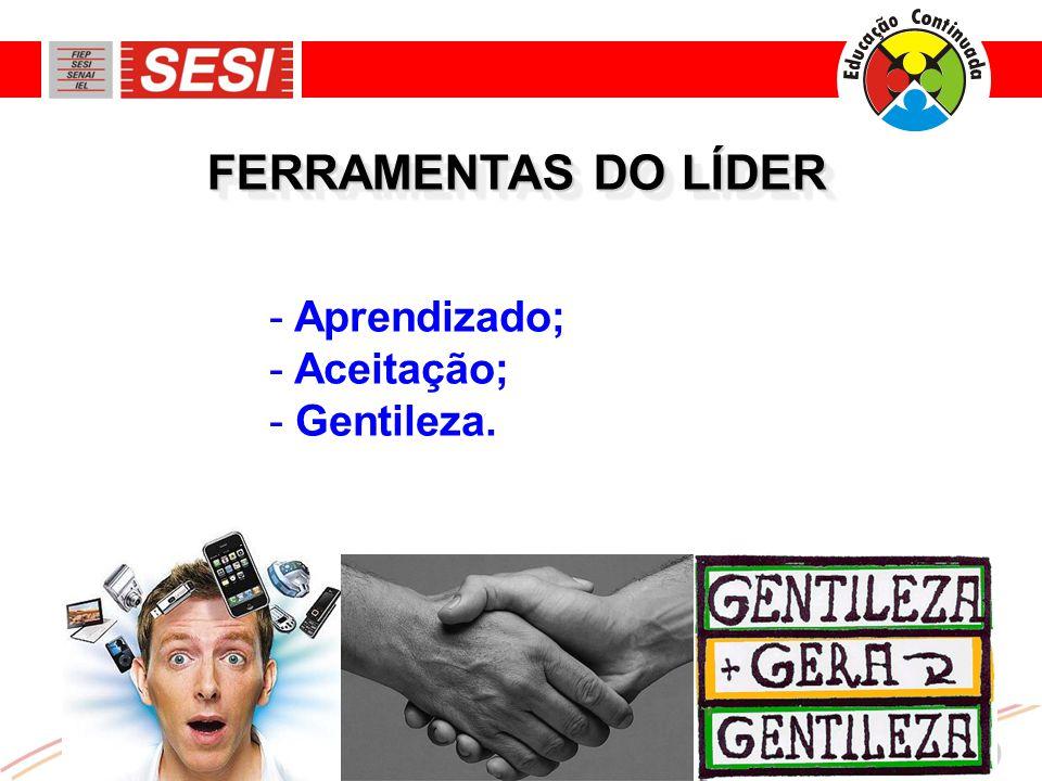 FERRAMENTAS DO LÍDER - Aprendizado; - Aceitação; - Gentileza.
