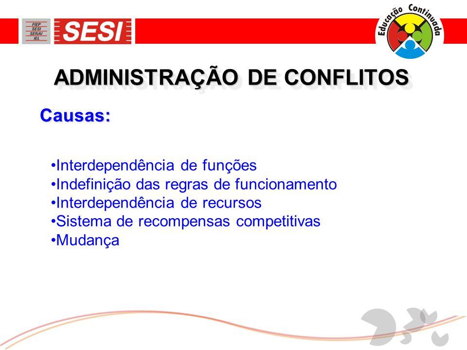 Causas: ADMINISTRAÇÃO DE CONFLITOS •Interdependência de funções •Indefinição das regras de funcionamento •Interdependência de recursos •Sistema de recompensas competitivas •Mudança