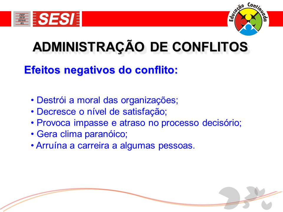 Efeitos negativos do conflito: ADMINISTRAÇÃO DE CONFLITOS • Destrói a moral das organizações; • Decresce o nível de satisfação; • Provoca impasse e at