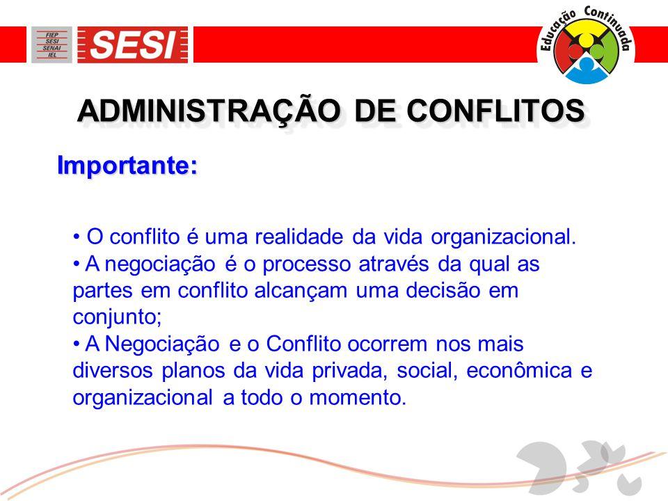 Importante: ADMINISTRAÇÃO DE CONFLITOS • O conflito é uma realidade da vida organizacional. • A negociação é o processo através da qual as partes em c