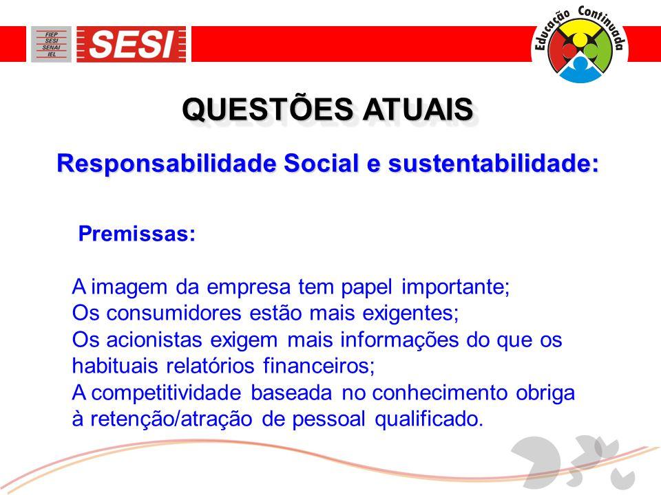 Responsabilidade Social e sustentabilidade: QUESTÕES ATUAIS Premissas: A imagem da empresa tem papel importante; Os consumidores estão mais exigentes;