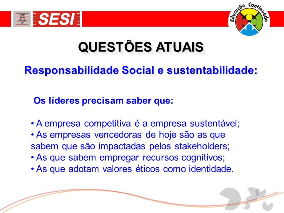 Responsabilidade Social e sustentabilidade: QUESTÕES ATUAIS Os líderes precisam saber que: • A empresa competitiva é a empresa sustentável; • As empre