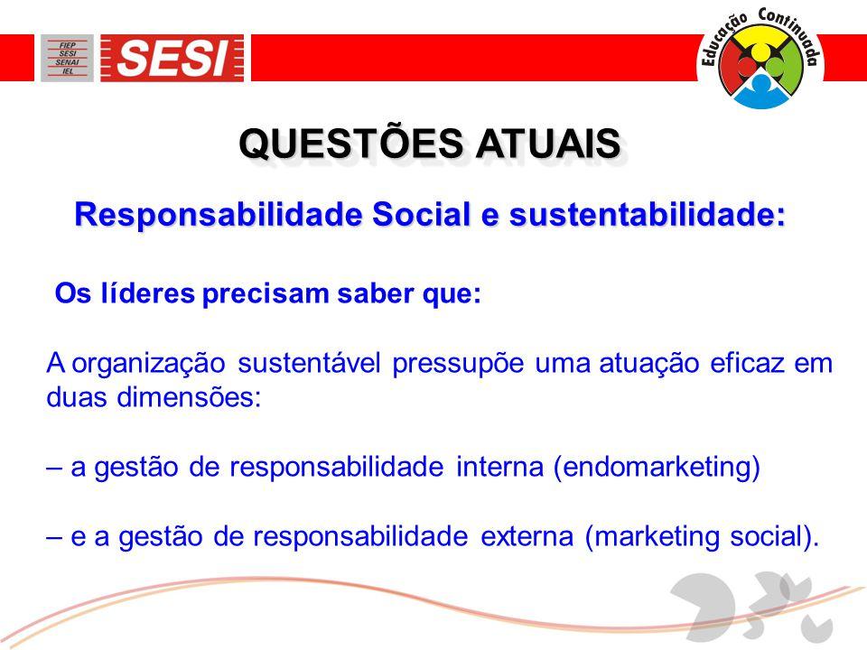 Responsabilidade Social e sustentabilidade: QUESTÕES ATUAIS Os líderes precisam saber que: A organização sustentável pressupõe uma atuação eficaz em d