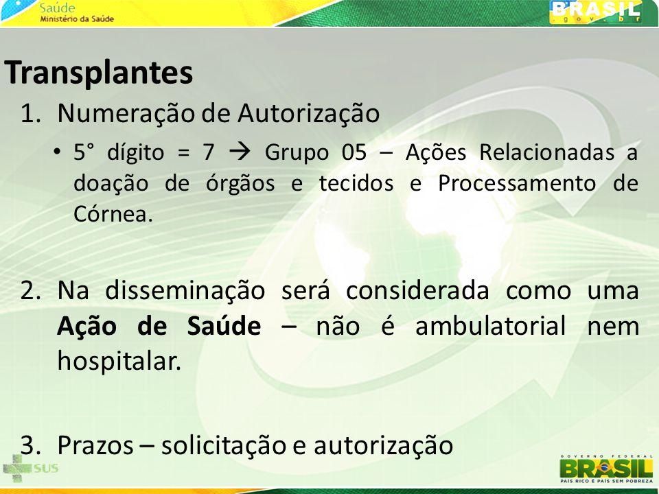 Transplantes 1.Numeração de Autorização • 5° dígito = 7  Grupo 05 – Ações Relacionadas a doação de órgãos e tecidos e Processamento de Córnea. 2.Na d