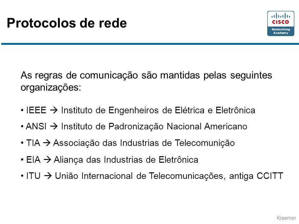 Kraemer As regras de comunicação são mantidas pelas seguintes organizações: • IEEE  Instituto de Engenheiros de Elétrica e Eletrônica • ANSI  Instit