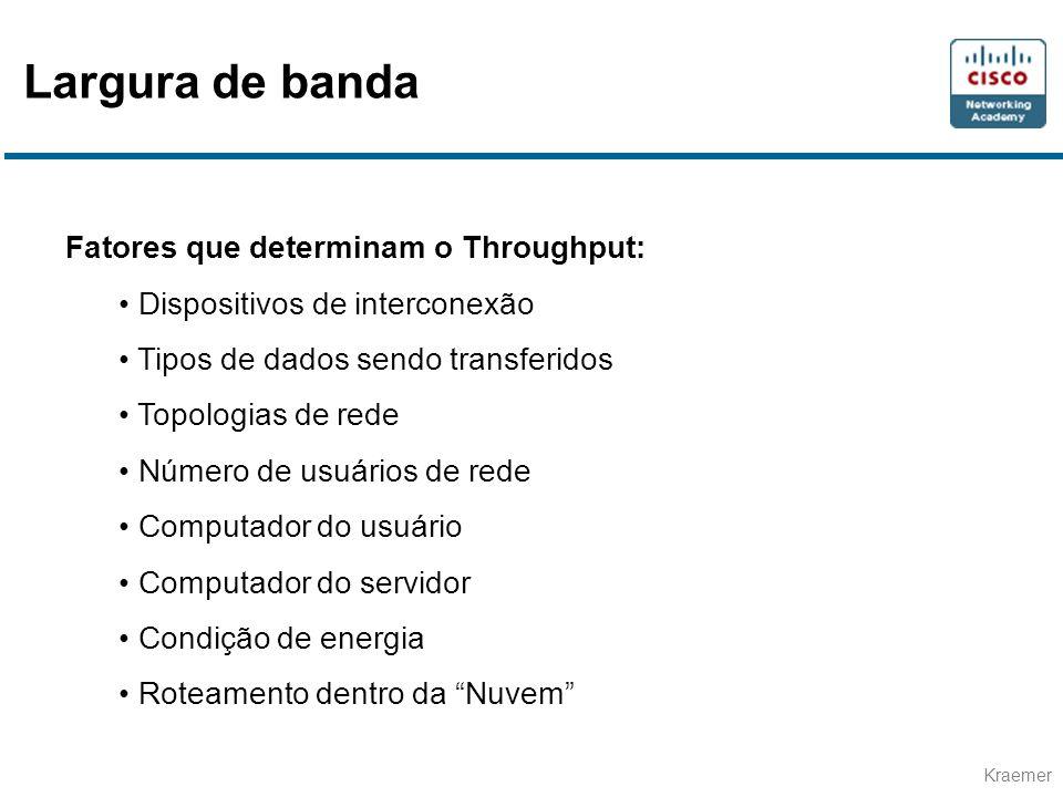 Kraemer Fatores que determinam o Throughput: • Dispositivos de interconexão • Tipos de dados sendo transferidos • Topologias de rede • Número de usuár