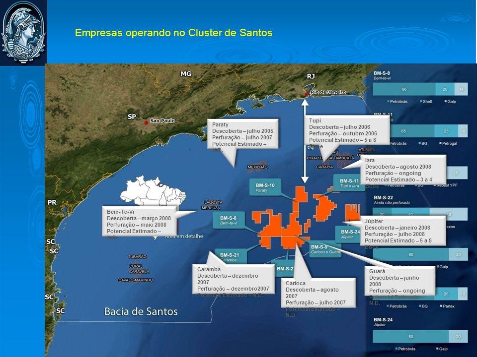Empresas operando no Cluster de Santos Paraty Descoberta – julho 2005 Perfuração – julho 2007 Potencial Estimado – N.D. Paraty Descoberta – julho 2005