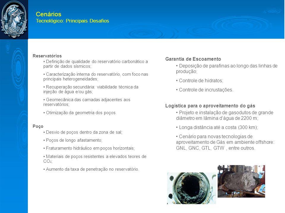Cenários Tecnológico: Principais Desafios Reservatórios • Definição de qualidade do reservatório carbonático a partir de dados sísmicos; • Caracteriza