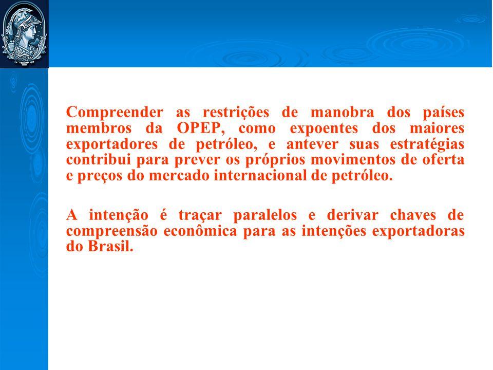 Lições a Partir da OPEP  Diversidade de estratégias entre os países da OPEP os leva a uma heterogeneidade de comportamento – dependendo da sua população, do seu volume de reservas, da sua posição financeira;  Dependência dos recursos naturais – Doença Holandesa;  The paradox of plenty;  Baixo grau de diversificação Industrial;  Sensibilidade à dinâmica do mercado internacional em relação a preços;  Alta dependência dos empregos gerados pelo setor petrolífero – estado como generoso provedor;  Reação à viabilização de algum tipo de backstop technology.