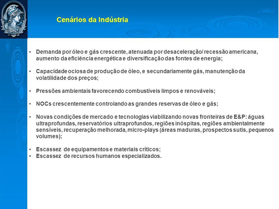 •Demanda por óleo e gás crescente, atenuada por desaceleração/ recessão americana, aumento da eficiência energética e diversificação das fontes de ene