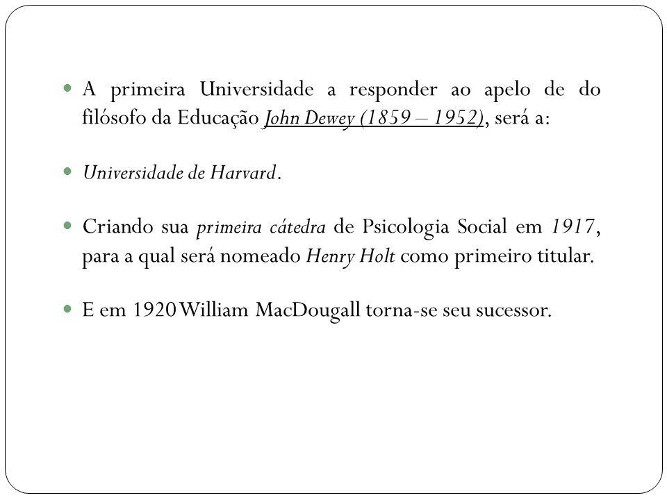  A primeira Universidade a responder ao apelo de do filósofo da Educação John Dewey (1859 – 1952), será a:  Universidade de Harvard.  Criando sua p
