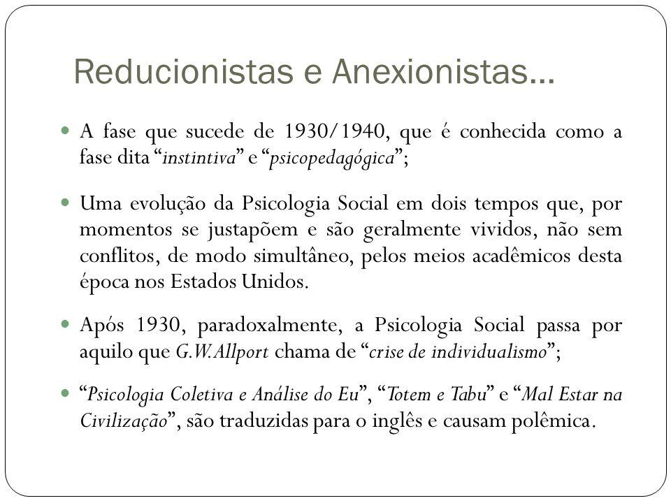 """Reducionistas e Anexionistas...  A fase que sucede de 1930/1940, que é conhecida como a fase dita """"instintiva"""" e """"psicopedagógica"""";  Uma evolução da"""