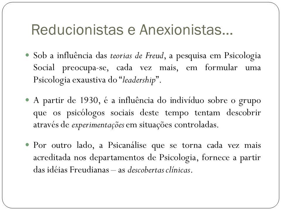 Reducionistas e Anexionistas...  Sob a influência das teorias de Freud, a pesquisa em Psicologia Social preocupa-se, cada vez mais, em formular uma P
