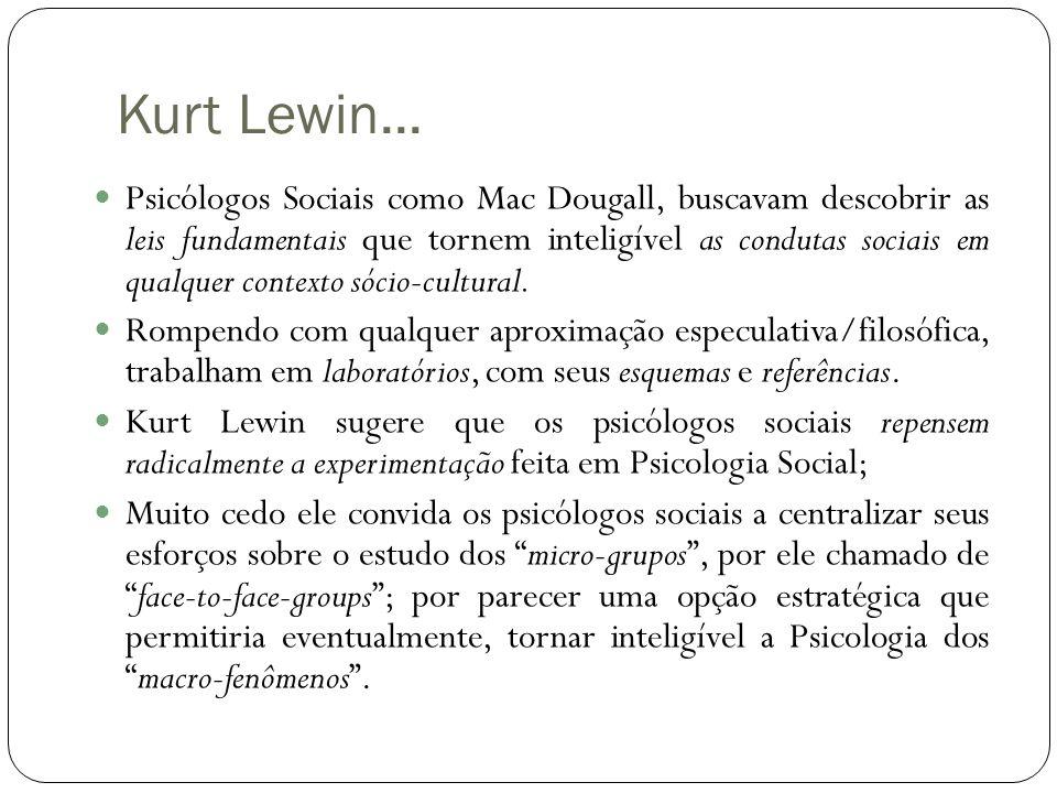 Kurt Lewin...  Psicólogos Sociais como Mac Dougall, buscavam descobrir as leis fundamentais que tornem inteligível as condutas sociais em qualquer co