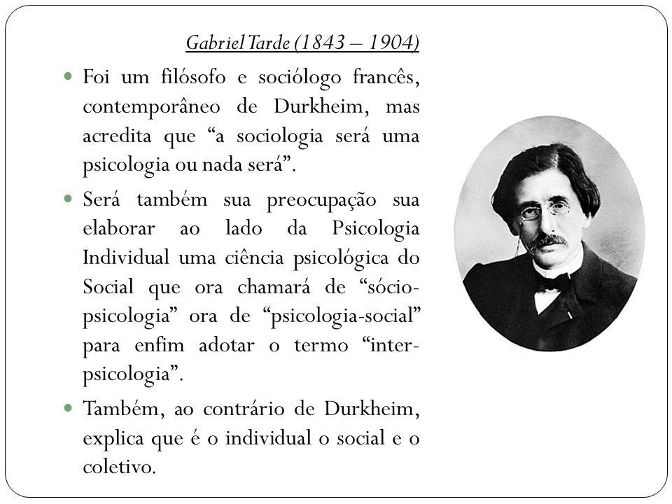 """Gabriel Tarde (1843 – 1904)  Foi um filósofo e sociólogo francês, contemporâneo de Durkheim, mas acredita que """"a sociologia será uma psicologia ou na"""