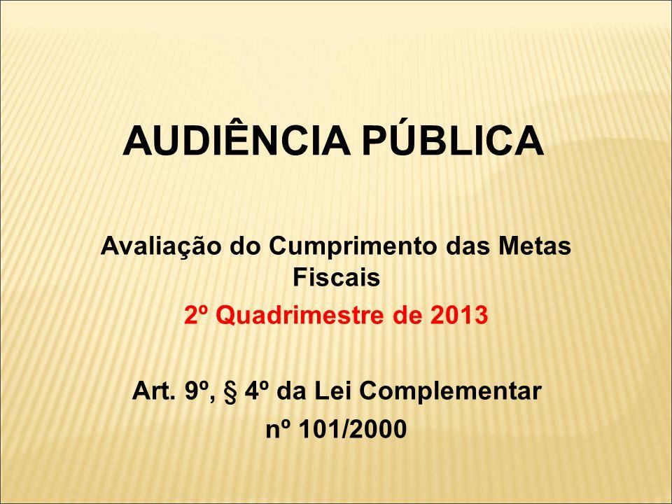 AUDIÊNCIA PÚBLICA Avaliação do Cumprimento das Metas Fiscais 2º Quadrimestre de 2013 Art.