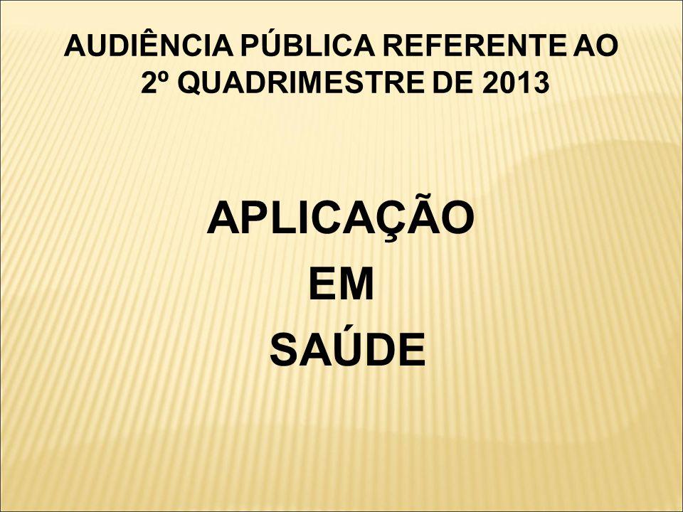 AUDIÊNCIA PÚBLICA REFERENTE AO 2º QUADRIMESTRE DE 2013 APLICAÇÃO EM SAÚDE