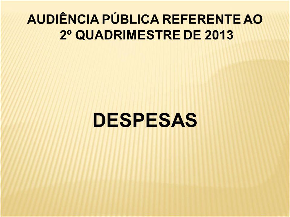AUDIÊNCIA PÚBLICA REFERENTE AO 2º QUADRIMESTRE DE 2013 DESPESAS
