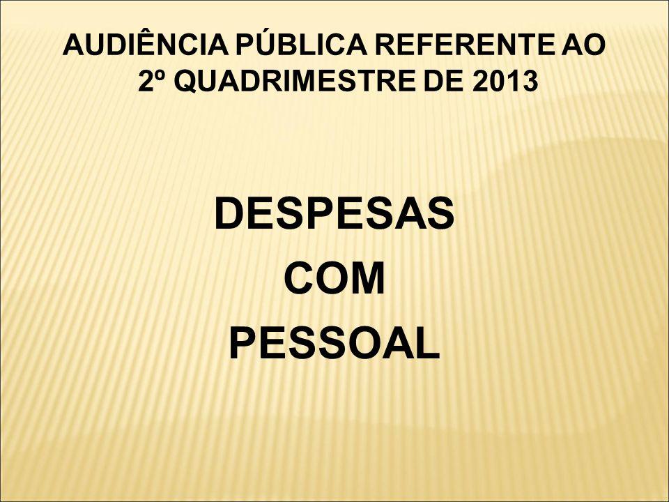 AUDIÊNCIA PÚBLICA REFERENTE AO 2º QUADRIMESTRE DE 2013 DESPESAS COM PESSOAL