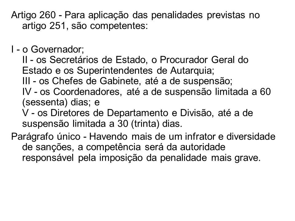 Artigo 260 - Para aplicação das penalidades previstas no artigo 251, são competentes: I - o Governador; II - os Secretários de Estado, o Procurador Ge