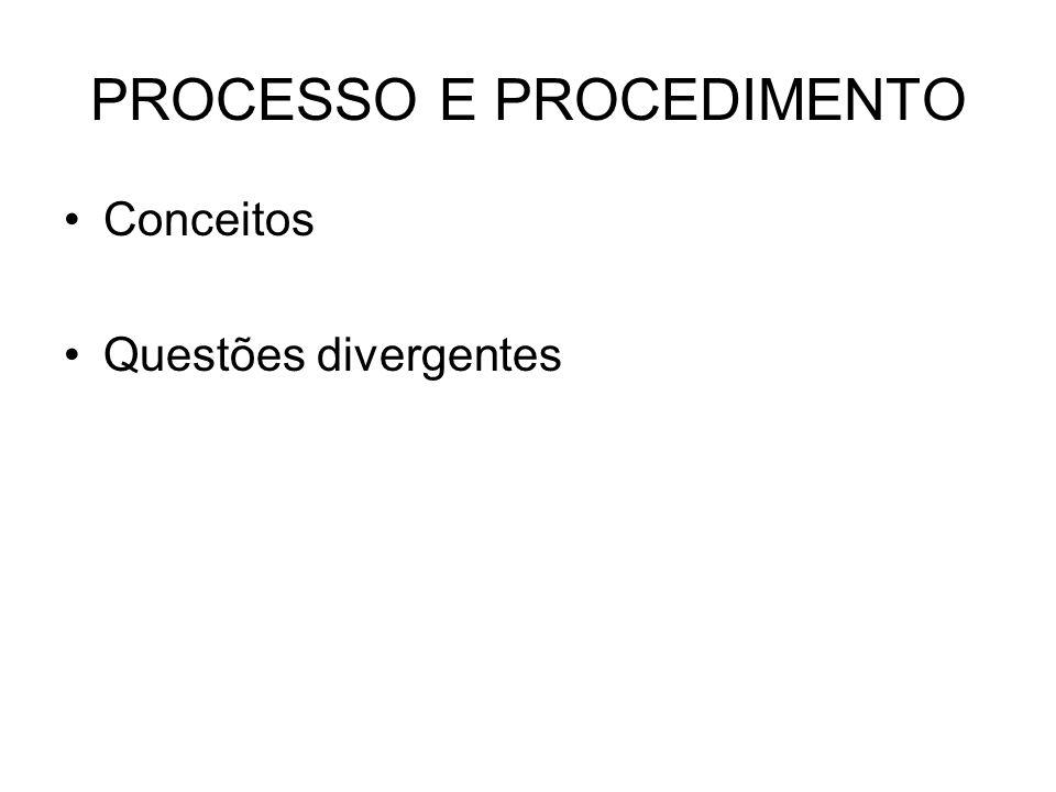 PROCESSO E PROCEDIMENTO •Conceitos •Questões divergentes