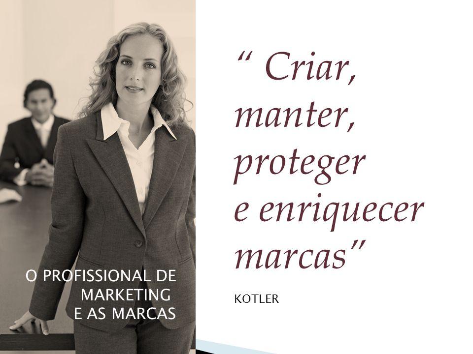 """O PROFISSIONAL DE MARKETING E AS MARCAS """" Criar, manter, proteger e enriquecer marcas"""" KOTLER"""