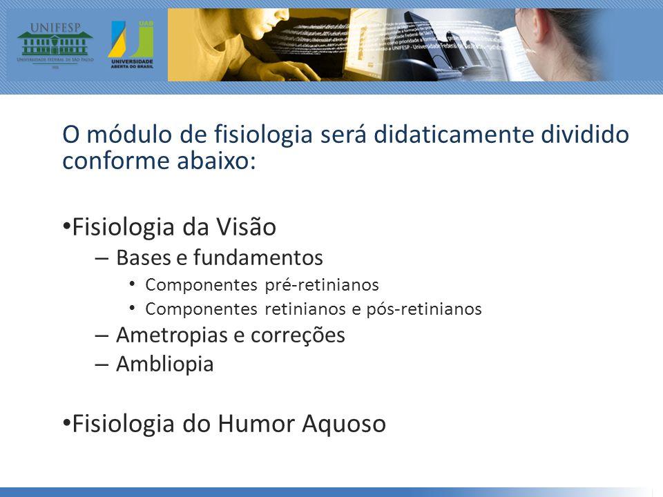 O módulo de fisiologia será didaticamente dividido conforme abaixo: • Fisiologia da Visão – Bases e fundamentos • Componentes pré-retinianos • Componentes retinianos e pós-retinianos – Ametropias e correções – Ambliopia • Fisiologia do Humor Aquoso