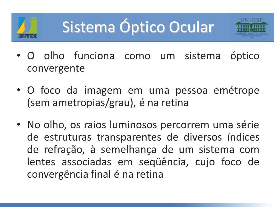 • O olho funciona como um sistema óptico convergente • O foco da imagem em uma pessoa emétrope (sem ametropias/grau), é na retina • No olho, os raios luminosos percorrem uma série de estruturas transparentes de diversos índices de refração, à semelhança de um sistema com lentes associadas em seqüência, cujo foco de convergência final é na retina Sistema Óptico Ocular