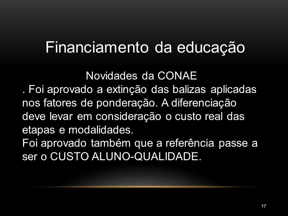 Financiamento da educação Novidades da CONAE Foi aprovado que o país aplique pelo menos 7% do PIB em 2011 e 10% em 2014. Em 2008 este percentual foi d