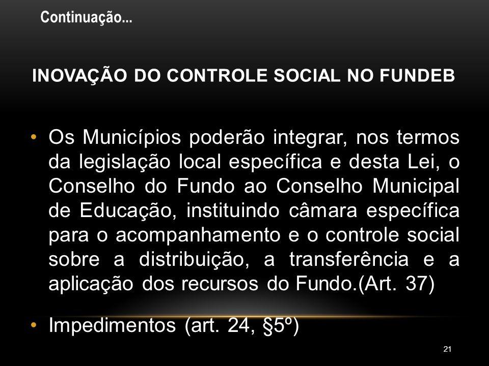 CONSELHO MUNICIPAL DO FUNDEB: COMPOSIÇÃO 20 •No mínimo nove membros, sendo: (art. 24, §1º, VI) Dois representantes do Poder Executivo Municipal, sendo