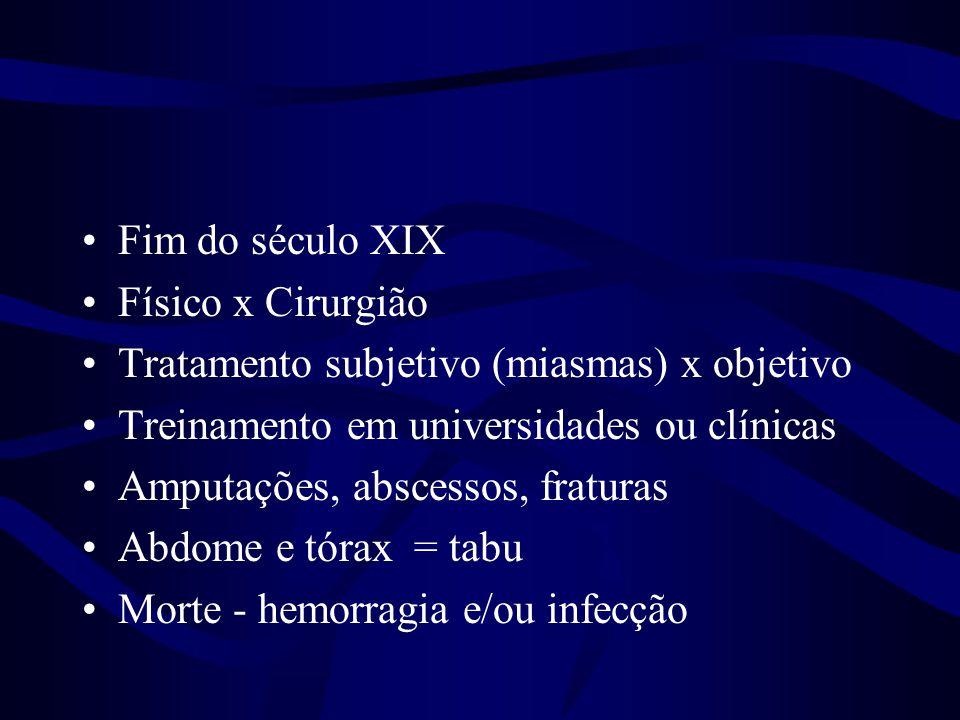•Fim do século XIX •Físico x Cirurgião •Tratamento subjetivo (miasmas) x objetivo •Treinamento em universidades ou clínicas •Amputações, abscessos, fr