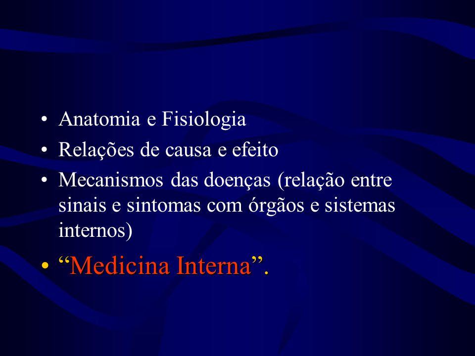 """•Anatomia e Fisiologia •Relações de causa e efeito •Mecanismos das doenças (relação entre sinais e sintomas com órgãos e sistemas internos) •""""Medicina"""