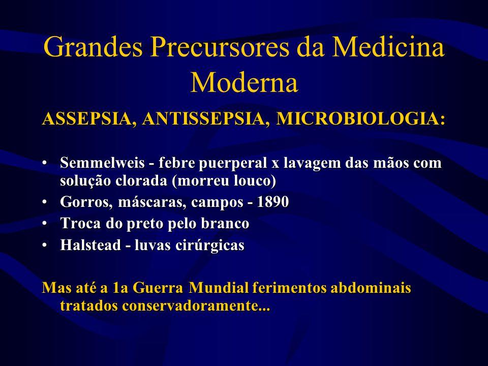 Grandes Precursores da Medicina Moderna ASSEPSIA, ANTISSEPSIA, MICROBIOLOGIA: •Semmelweis - febre puerperal x lavagem das mãos com solução clorada (mo