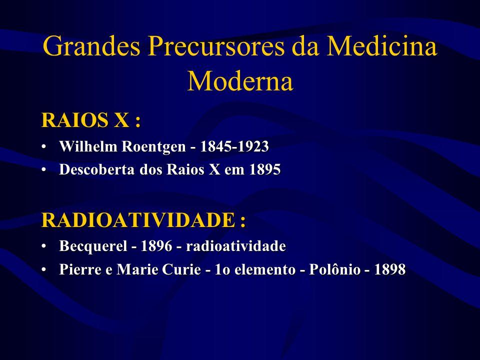 Grandes Precursores da Medicina Moderna RAIOS X : •Wilhelm Roentgen - 1845-1923 •Descoberta dos Raios X em 1895 RADIOATIVIDADE : •Becquerel - 1896 - r