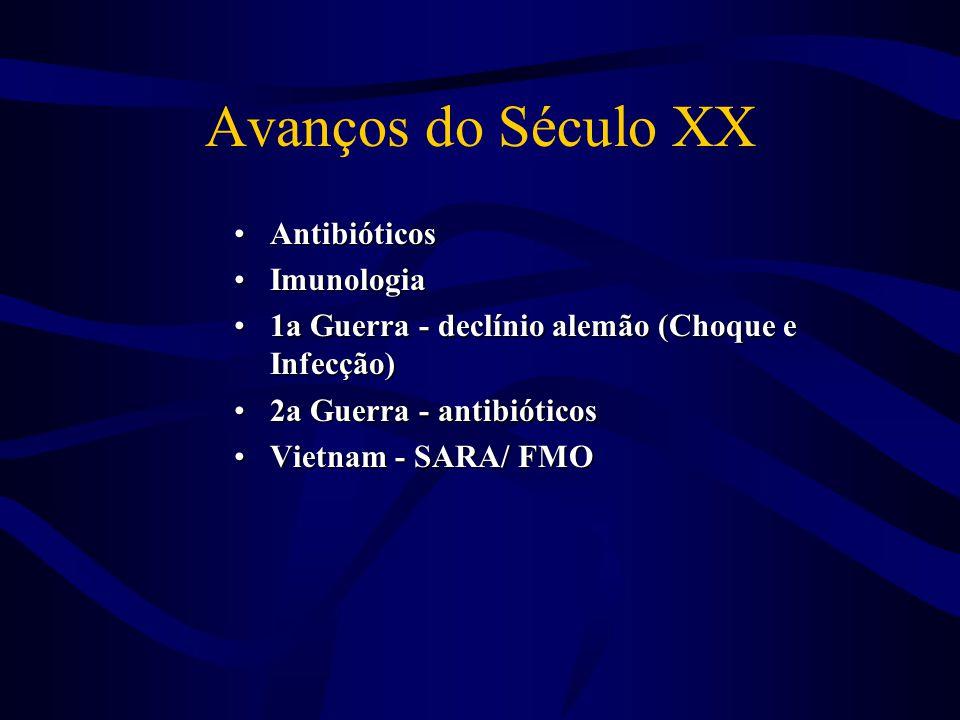 Avanços do Século XX •Antibióticos •Imunologia •1a Guerra - declínio alemão (Choque e Infecção) •2a Guerra - antibióticos •Vietnam - SARA/ FMO