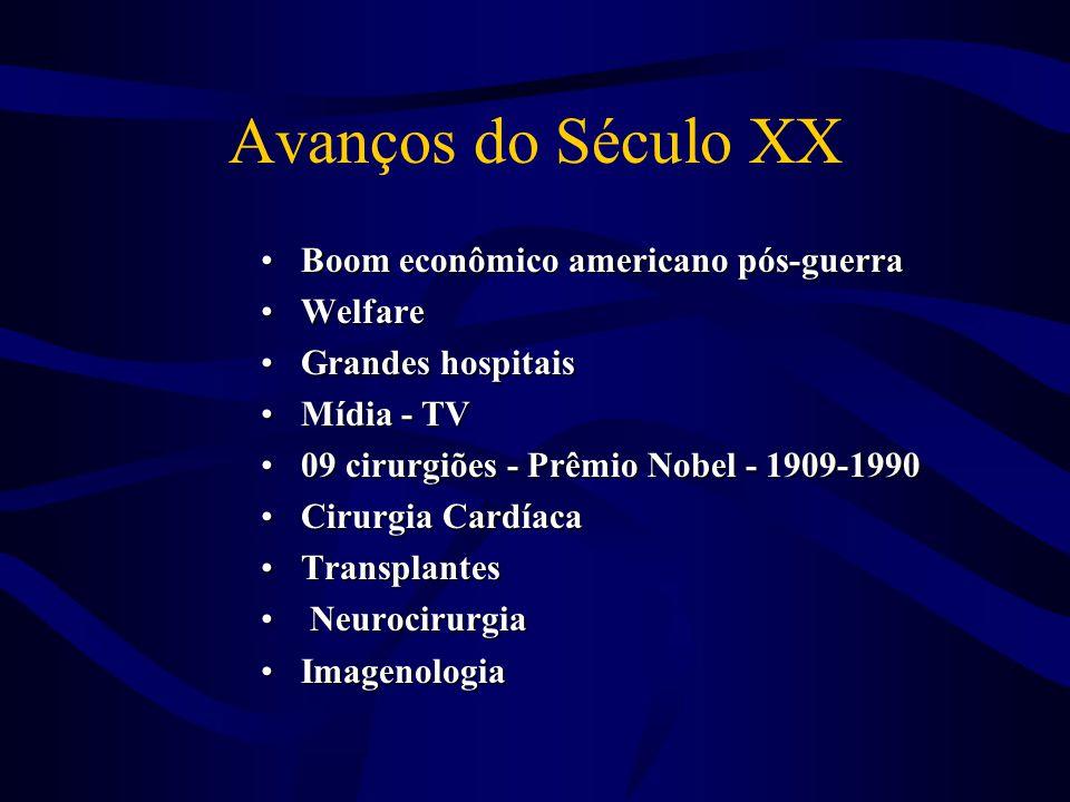 Avanços do Século XX •Boom econômico americano pós-guerra •Welfare •Grandes hospitais •Mídia - TV •09 cirurgiões - Prêmio Nobel - 1909-1990 •Cirurgia