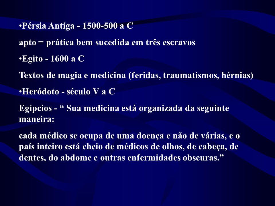 •Pérsia Antiga - 1500-500 a C apto = prática bem sucedida em três escravos •Egito - 1600 a C Textos de magia e medicina (feridas, traumatismos, hérnia