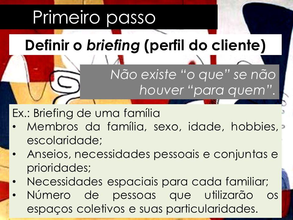 """Primeiro passo Definir o briefing (perfil do cliente) Não existe """"o que"""" se não houver """"para quem"""". Ex.: Briefing de uma família • Membros da família,"""