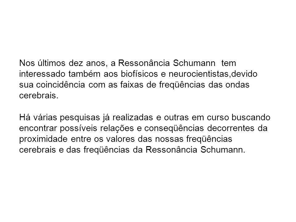 Nos últimos dez anos, a Ressonância Schumann tem interessado também aos biofísicos e neurocientistas,devido sua coincidência com as faixas de freqüências das ondas cerebrais.