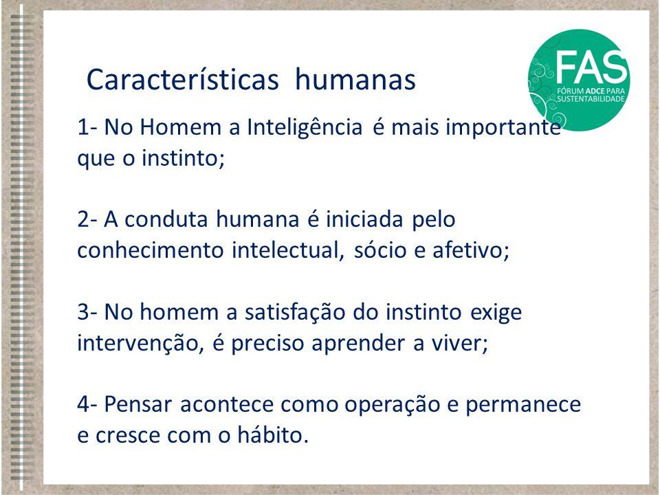 1- No Homem a Inteligência é mais importante que o instinto; 2- A conduta humana é iniciada pelo conhecimento intelectual, sócio e afetivo; 3- No home