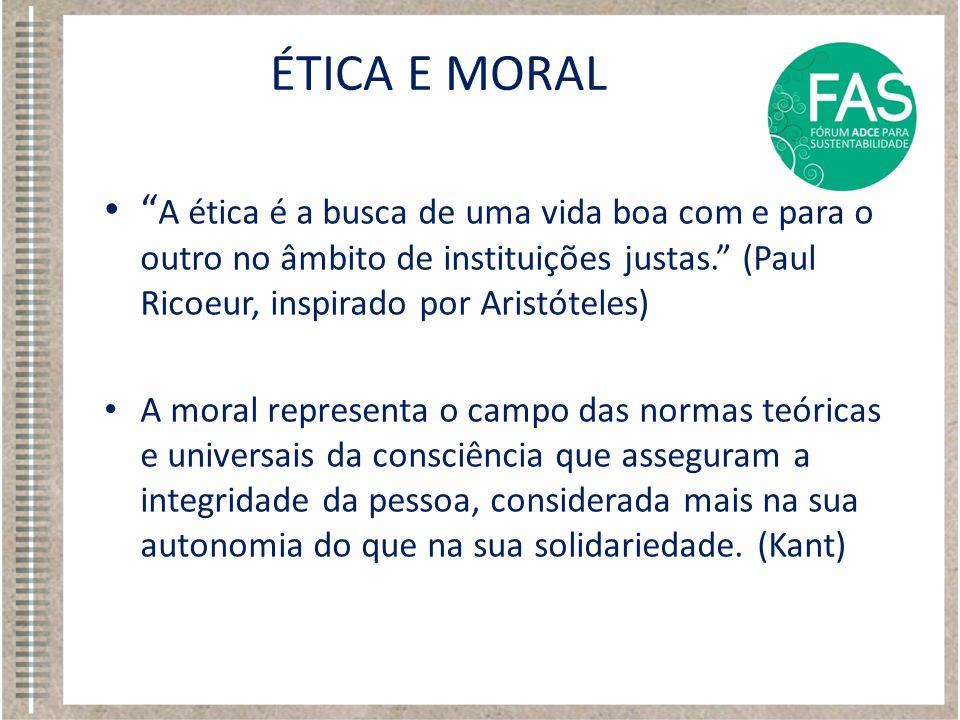 """• """" A ética é a busca de uma vida boa com e para o outro no âmbito de instituições justas."""" (Paul Ricoeur, inspirado por Aristóteles) • A moral repres"""