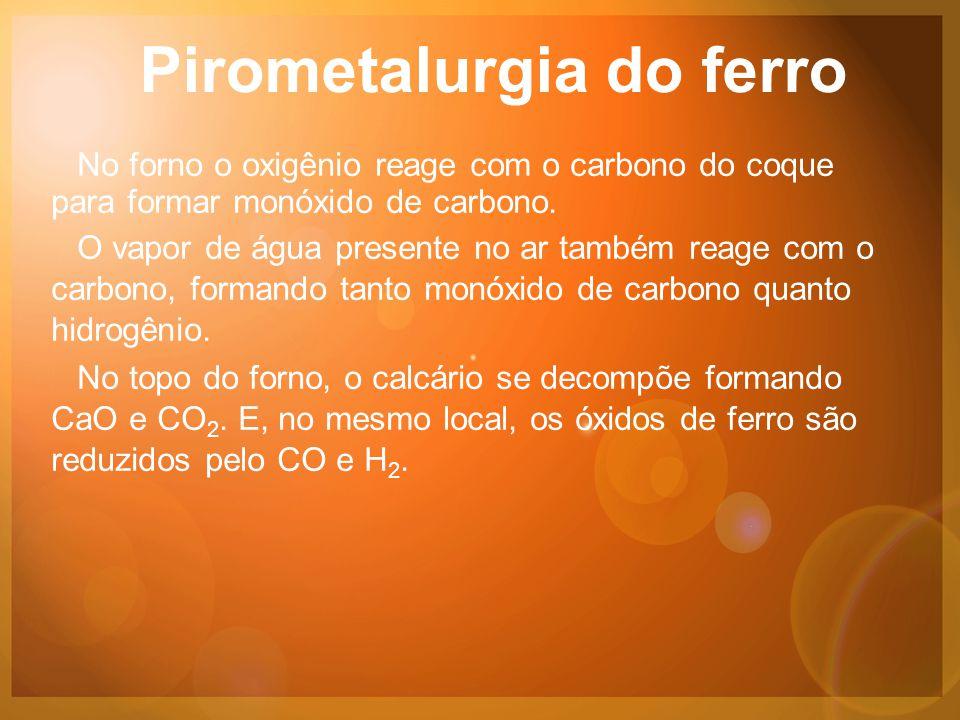 Pirometalurgia do ferro No forno o oxigênio reage com o carbono do coque para formar monóxido de carbono.