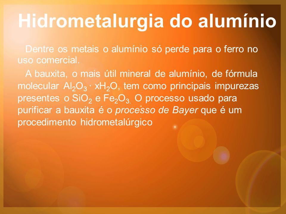 Hidrometalurgia do alumínio Dentre os metais o alumínio só perde para o ferro no uso comercial.